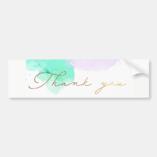 ★ Unique Watercolour Gold Modern Thank You Bumper Sticker