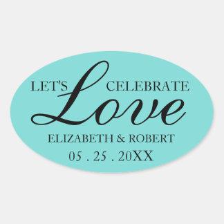 Unique Wedding Oval Sticker Invitations Black Teal
