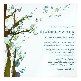 Unique Whimsical Tree Wedding (Pearl Shimmer) 13 Cm X 13 Cm Square Invitation Card