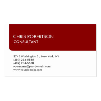 Unique White Dark Red Stripe Attractive Pack Of Standard Business Cards