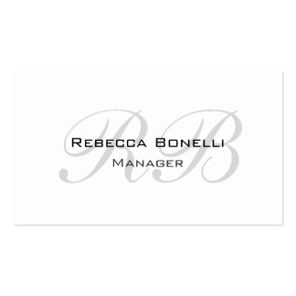 Unique White Gray Script Monogram Manager Pack Of Standard Business Cards
