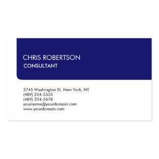 Unique White Midnight Blue Stripe Attractive Pack Of Standard Business Cards