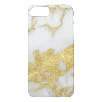 Unique Yellow Gold Modern White Marble iPhone 8/7 Case