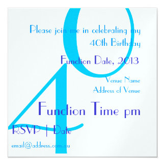 Unisex Adult 40th Birthday Party Invitation