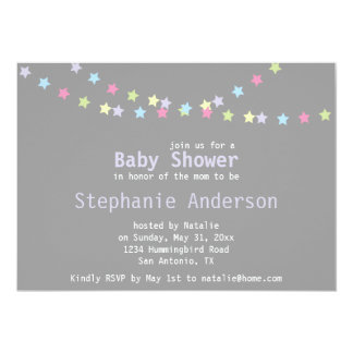 Unisex Baby Shower Colorful Pastel Stars 13 Cm X 18 Cm Invitation Card