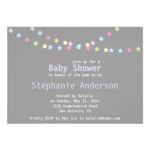 Unisex Baby Shower Colorful Pastel Stars Custom Announcements
