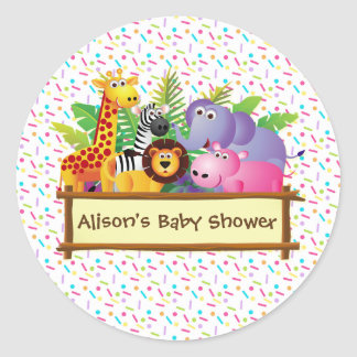 Unisex Baby shower sprinkle jungle safari favor Classic Round Sticker