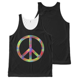 Unisex Black tanktop with psychadelic peace sign. All-Over Print Tank Top