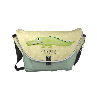 Unisex Crocodile Safari Baby Name Diaper Messenger Bags