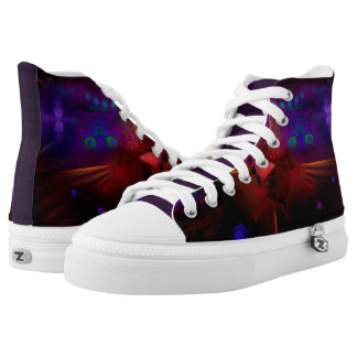 Unisex High Top Shoes - Abstract Red Peacock Image Printed Shoes