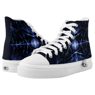 Unisex High Top Shoes - Black and Blue Graphic Art Printed Shoes