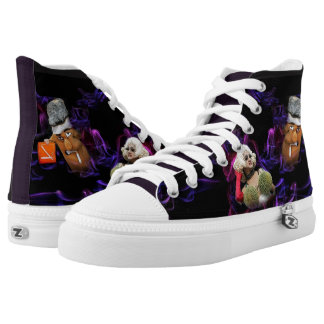 Unisex High Top Shoes - Funny No-Smoking Area Icon Printed Shoes