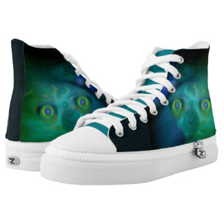 Unisex High Top Shoes - Scary Digital 'Moon Freak' Printed Shoes