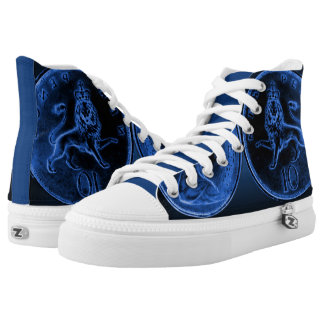 Unisex High Top Shoes w. Blue GB 10 New Pence Coin Printed Shoes