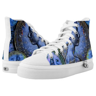 Unisex High Top Shoes w. GB 10 New Pence Coinscape Printed Shoes