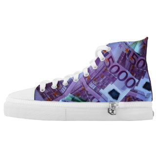 Unisex High Top Shoes with Fake 5000 Euro Banknote