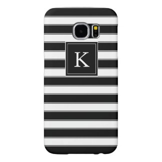 Unisex Monogram Classic Stripes Pattern, Black Samsung Galaxy S6 Cases