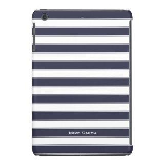Unisex Monogram Classic Stripes Pattern, charcoal iPad Mini Retina Cover