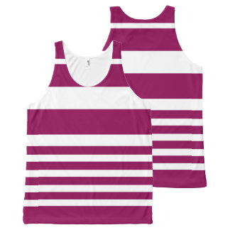 Unisex Nautical Stripe Tank Top - Purple Violet All-Over Print Tank Top