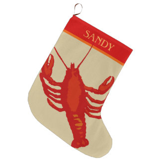 Unisex Red Lobster Crustacean Personalized Large Christmas Stocking