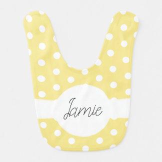 Unisex Simple Yellow Polka Dot Spotty Pattern Name Bib