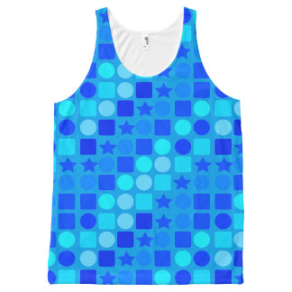 Unisex Tank Top Blue Star Circles & Squares All-Over Print Tank Top