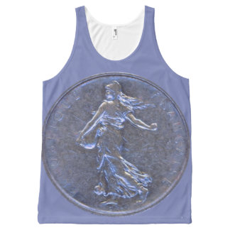 Unisex Tank w. Beautiful French Coin 5 Francs 1962