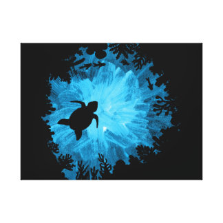 Unisex Turtle Coral Reef Silhouette Mens Womens Canvas Print
