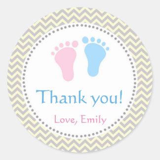 Unisex Twins Baby Shower Labels Pink Blue Round Sticker