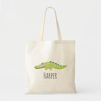 Unisex Watercolor Baby Crocodile Safari and Name Tote Bag