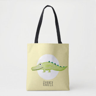 Unisex Watercolor Baby Crocodile Safari with Name Tote Bag