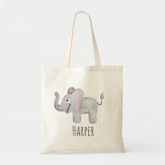 Unisex Watercolor Baby Elephant Safari and Name Tote Bag