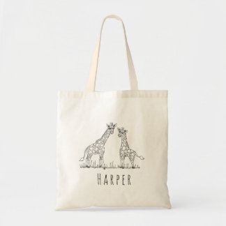 Unisex Watercolor Baby Giraffe Safari and Name Tote Bag