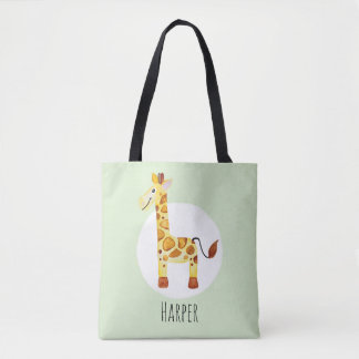 Unisex Watercolor Baby Giraffe Safari with Name Tote Bag