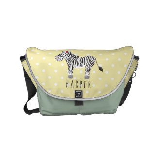 Unisex Watercolor Zebra Safari Dots Name Diaper Commuter Bags