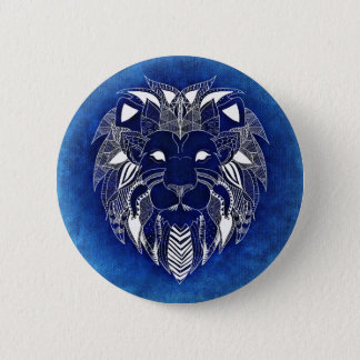 Unisex White Lion With Blue Background Button Pin