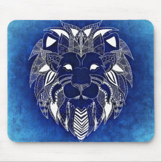 Unisex White Lion With Blue Background Mouse Pad