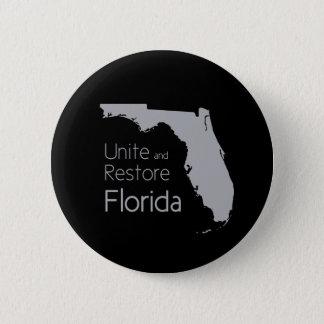 Unite and restore Florida after hurricane Irma 6 Cm Round Badge