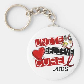 UNITE BELIEVE CURE AIDS HIV KEY CHAIN