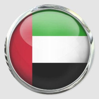 United Arab Emirates Flag Glass Ball Classic Round Sticker