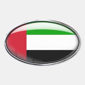 United Arab Emirates Flag Glass Oval Oval Sticker