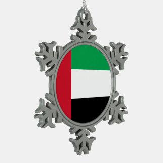 United Arab Emirates Flag Snowflake Pewter Christmas Ornament
