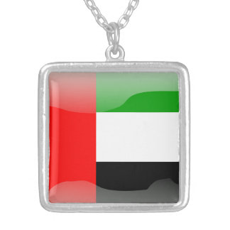 United Arab Emirates glossy flag Silver Plated Necklace