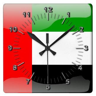 United Arab Emirates glossy flag Square Wall Clock
