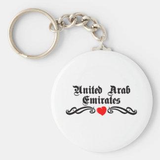 United Arab Emirates Tattoo Style Basic Round Button Key Ring