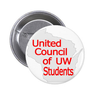 United Council New Logo Red on Grey Pinback Button