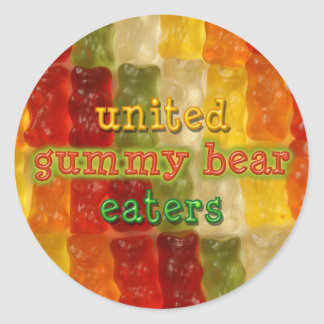 united gummy bear eaters classic round sticker