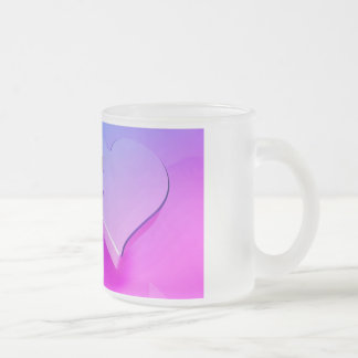 united heart frosted glass coffee mug