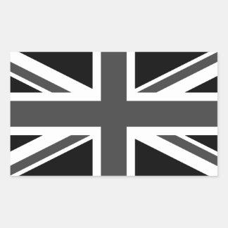 United Kingdom: Black Union Jack Rectangular Sticker