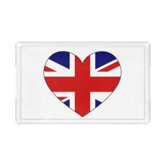 United Kingdom Flag Heart Acrylic Tray